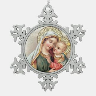 Vierge Marie béni avec le bébé Jésus Ornement Flocon De Neige Pewter