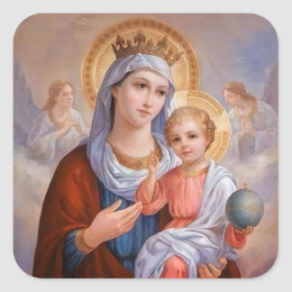 Vierge Marie béni avec le bébé Jésus Sticker Carré