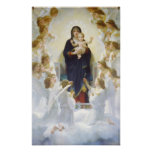 Vierge Marie et Jésus avec des anges Affiches