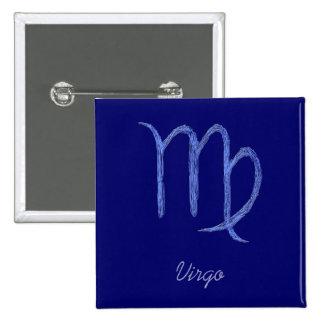 Vierge. Signe astrologique de zodiaque. Bleu Badges Avec Agrafe