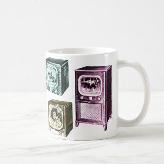 Vieux B&W téléviseurs de télévision du kitsch Mug