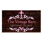 Vieux bois et rouleau rose carte de visite
