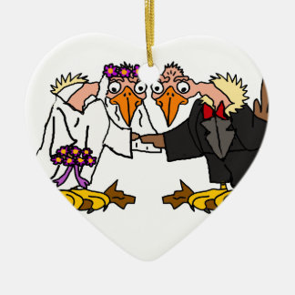 Vieux Buzzard drôle épousant l'art de bande Ornement Cœur En Céramique