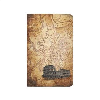 Vieux carte de Rome et journal de poche de