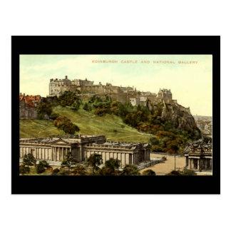 Vieux carte postale, château d'Edimbourg et