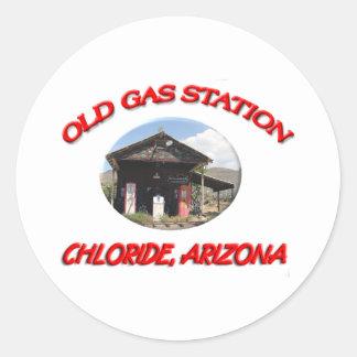 Vieux chlorure AZ de station service Autocollant Rond