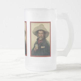 Vieux cowboy mug en verre givré
