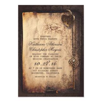 Vieux cru de fausse clé et mariage gothique carton d'invitation  12,7 cm x 17,78 cm