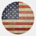 Vieux drapeau américain adhésifs ronds