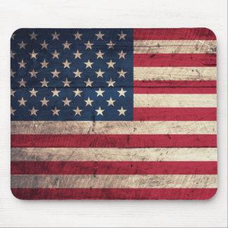 Vieux drapeau américain en bois tapis de souris