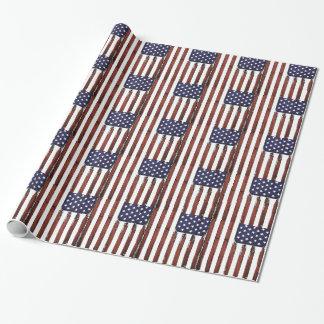 Vieux drapeau américain grunge papier cadeau noël