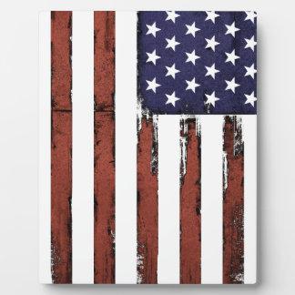 Vieux drapeau américain grunge plaque photo
