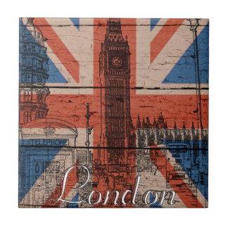 Vieux drapeau en bois à la mode frais impressionna petit carreau carré