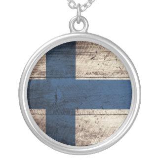 Vieux drapeau en bois de la Finlande Pendentif Rond