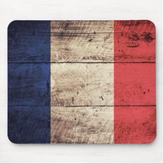 Vieux drapeau en bois de la France Tapis De Souris