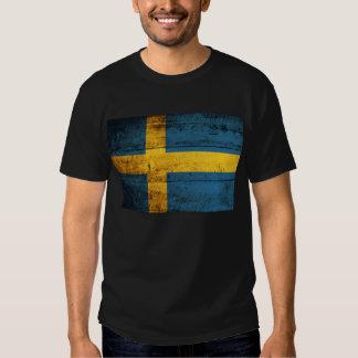 Vieux drapeau en bois de la Suède ; T-shirts
