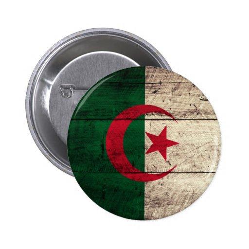 Vieux drapeau en bois de l'Algérie Badges Avec Agrafe