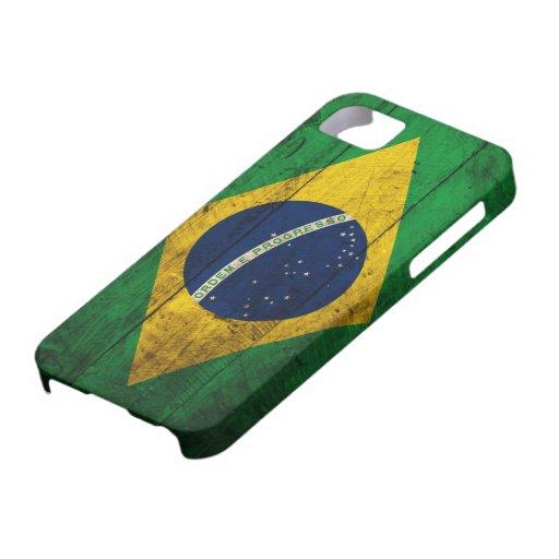 Vieux drapeau en bois du Brésil Coques iPhone 5