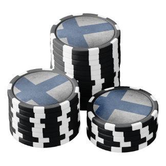 Vieux drapeau grunge vintage de la Finlande Lot De Jeton De Poker