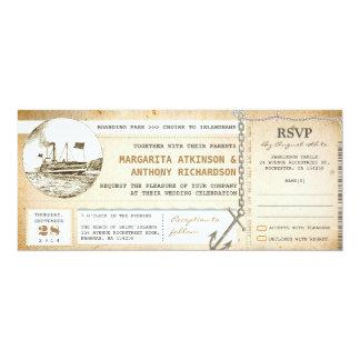 vieux invitations de mariage de croisière de carte