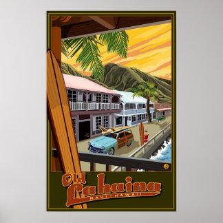 Vieux Lahaina affiche de voyage de surf d Hawaï