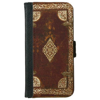 Vieux laiton en cuir et couverture de livre dorée coque avec portefeuille pour iPhone 6