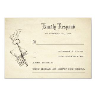 Vieux livre vintage d'histoire épousant RSVP Carton D'invitation 8,89 Cm X 12,70 Cm