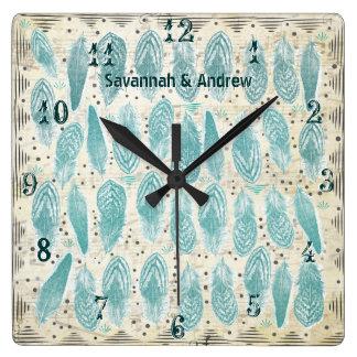 Vieux motif turquoise rustique personnalisé de horloge carrée