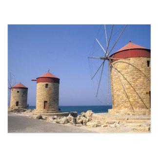 Vieux moulins à vent célèbres de Rhodes Grèce Carte Postale