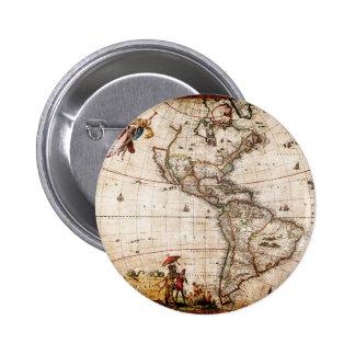 Vieux nord antique et carte de l'Amérique du Sud Badge