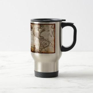 Vieux nord antique et carte de l'Amérique du Sud Mug De Voyage