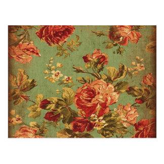 Vieux roses roses sur la carte postale verte