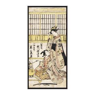 Vieux rouleau de geisha japonais vintage frais toiles