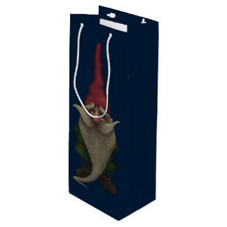 Vieux sac de cadeau de vin de gnome de Noël