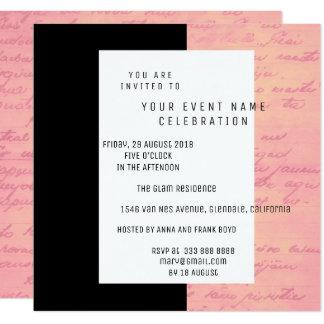 Vieux saumon noir blanc d'or de rose de rose de carton d'invitation  13,33 cm