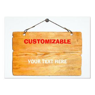 Vieux signe accrochant en bois cartons d'invitation personnalisés