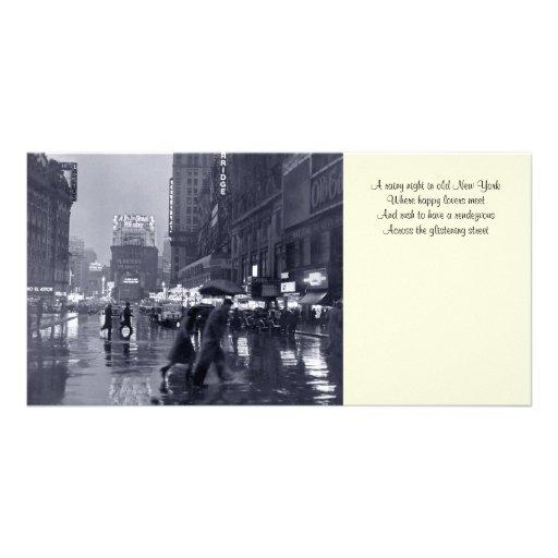 Vieux signet pluvieux Photocard de nuit de NYC Photocartes Personnalisées