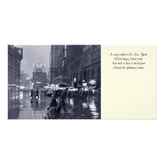Vieux signet pluvieux Photocard de nuit de NYC Photocarte Personnalisée