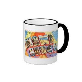 Vieux souvenir vintage de voyage de Miami Beach la Mug Ringer