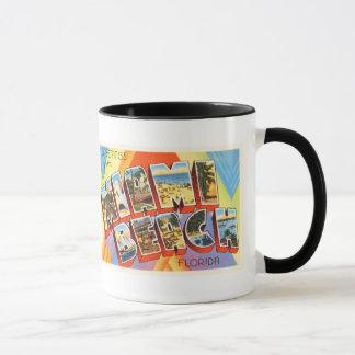 Vieux souvenir vintage de voyage de Miami Beach la Tasses