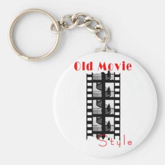 Vieux style de film porte-clé rond