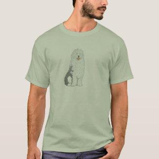 Vieux T-shirts anglais de chien de moutons et