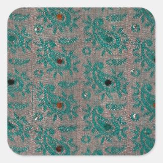 Vieux tissu sticker carré