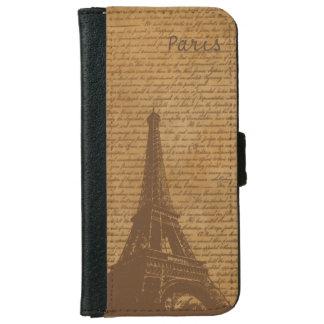 Vieux Tour Eiffel vintage de Paris de manuscrits Coque Avec Portefeuille Pour iPhone 6
