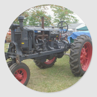 Vieux tracteur de moteur à gaz sticker rond