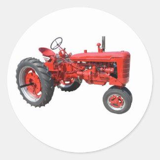 vieux tracteur rouge sticker rond