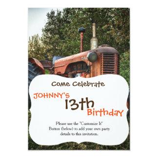 Vieux tracteur rouge vintage carton d'invitation  12,7 cm x 17,78 cm