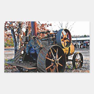 Vieux tracteur rustique de vapeur autocollants en rectangle