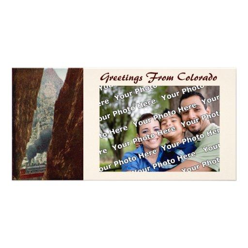 Vieux train de crevasse dans le carte photo royal  cartes de vœux avec photo