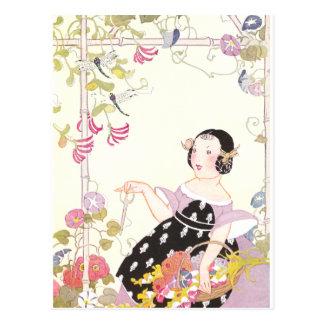 Vigne et fille de chèvrefeuille avec des fleurs carte postale